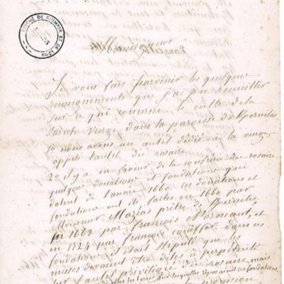 Enquête diocésaine sur le culte marial de 1856 : réponse de la paroisse de Kernilis