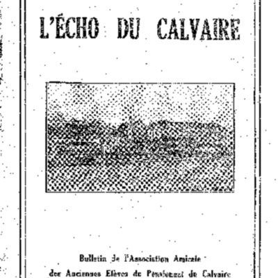 L'Echo du Calvaire : bulletin de l'Association amicale des anciens élèves du Calvaire de Landerneau 1939