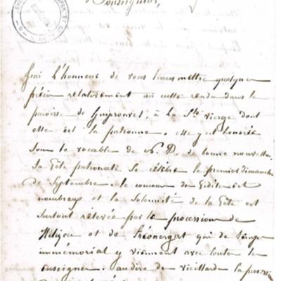 Enquête diocésaine sur le culte marial de 1856 : réponse de la paroisse de Guipronvel