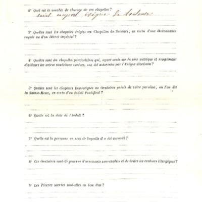 Enquête sur les chapelles : réponse de la paroisse de  Dinéault