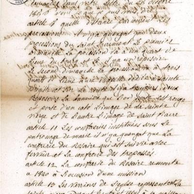 Enquête diocésaine sur le culte marial de 1856 : réponse de la paroisse de Guengat