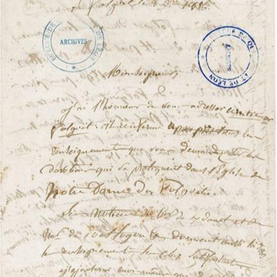 Enquête diocésaine sur le culte marial de 1856 : réponse de la paroisse du Folgoët